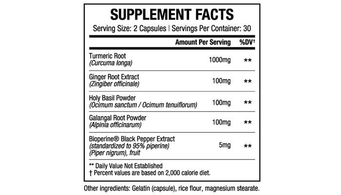 Curcumin Triple Burn ingredients